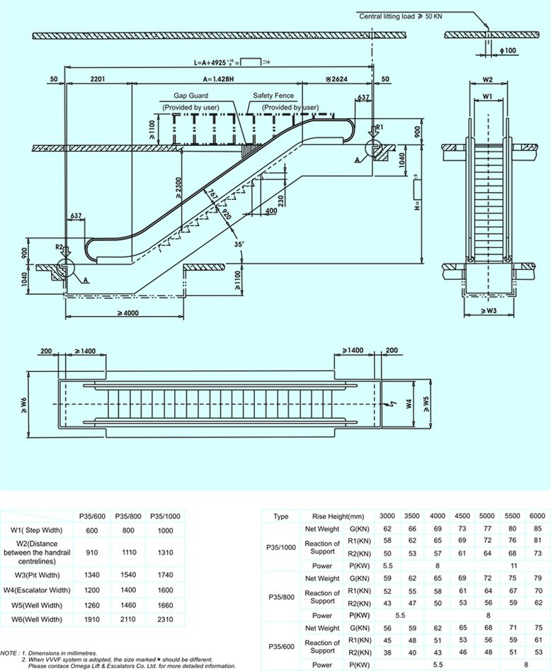 dc p35 series escalator construction layout drawing